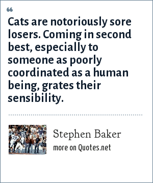 Stephen Baker: Cats are notoriously sore losers. Coming in second best, especially to someone as poorly coordinated as a human being, grates their sensibility.