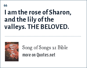 Song of Songs 21 Bible: I am the rose of Sharon, and the lily of the valleys. THE BELOVED.
