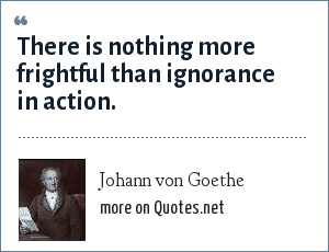 Johann von Goethe: There is nothing more frightful than ignorance in action.