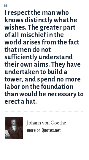 Johann von Goethe: I respect the man who knows distinctly what he wishes. The greater part of all mischief in the world arises from the fact that men do not sufficiently understand their own aims. They have undertaken to build a tower, and spend no more labor on the foundation than would be necessary to erect a hut.