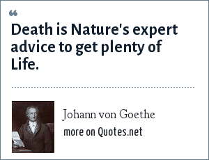 Johann von Goethe: Death is Nature's expert advice to get plenty of Life.