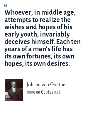 Johann von Goethe: Whoever, in middle age, attempts to realize the wishes and hopes of his early youth, invariably deceives himself. Each ten years of a man's life has its own fortunes, its own hopes, its own desires.