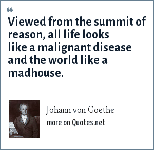 Johann von Goethe: Viewed from the summit of reason, all life looks like a malignant disease and the world like a madhouse.