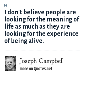 Joseph Campbell: I don't believe people are looking for the meaning of life as much as they are looking for the experience of being alive.