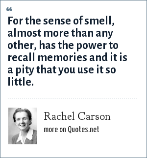 Rachel Carson: For the sense of smell, almost more than any other, has the power to recall memories and it is a pity that you use it so little.