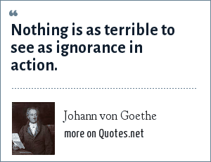 Johann von Goethe: Nothing is as terrible to see as ignorance in action.