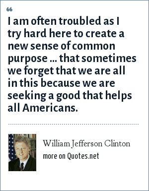 William Jefferson Clinton: I am often troubled as I try hard here to create a new sense of common purpose ... that sometimes we forget that we are all in this because we are seeking a good that helps all Americans.