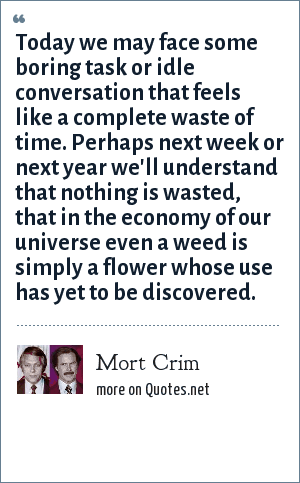 Mort Crim: Today we may face some boring task or idle conversation that feels like a complete waste of time. Perhaps next week or next year we'll understand that nothing is wasted, that in the economy of our universe even a weed is simply a flower whose use has yet to be discovered.