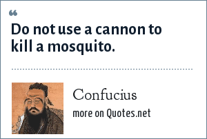 Confucius: Do not use a cannon to kill a mosquito.