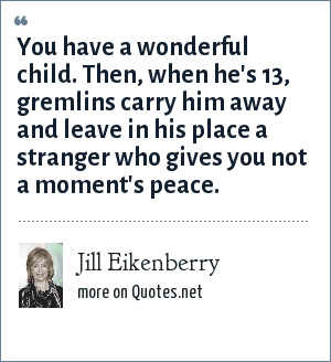 Jill Eikenberry: You have a wonderful child. Then, when he's 13, gremlins carry him away and leave in his place a stranger who gives you not a moment's peace.