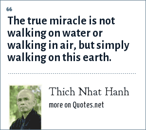 Thich Nhat Hanh: The true miracle is not walking on water or walking in air, but simply walking on this earth.
