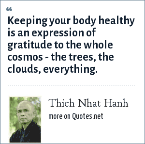Thich Nhat Hanh: Keeping your body healthy is an expression of gratitude to the whole cosmos - the trees, the clouds, everything.