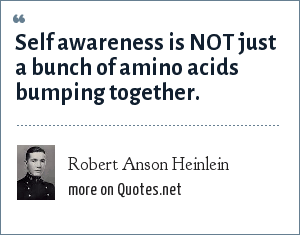 Robert Anson Heinlein: Self awareness is NOT just a bunch of amino acids bumping together.