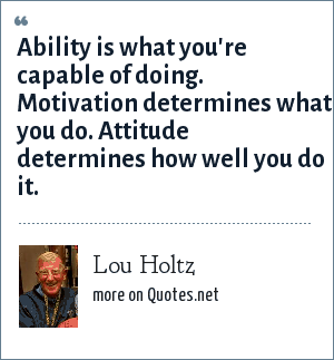 Lou Holtz: Ability is what you're capable of doing. Motivation determines what you do. Attitude determines how well you do it.