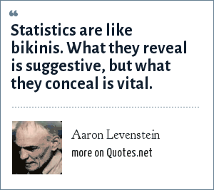 Aaron Levenstein: Statistics are like bikinis. What they reveal is suggestive, but what they conceal is vital.
