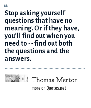 Thomas Merton: Stop asking yourself questions that have no meaning. Or if they have, you'll find out when you need to -- find out both the questions and the answers.