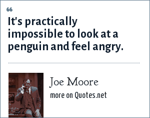 Joe Moore: It's practically impossible to look at a penguin and feel angry.