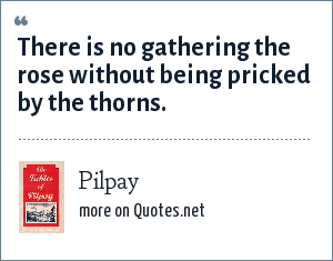 Pilpay: There is no gathering the rose without being pricked by the thorns.