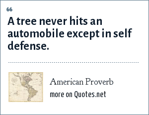 American Proverb: A tree never hits an automobile except in self defense.
