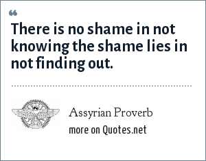 Assyrian Proverb: There is no shame in not knowing the shame lies in not finding out.