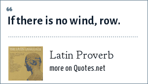 Latin Proverb: If there is no wind, row.