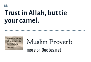 Muslim Proverb: Trust in Allah, but tie your camel.