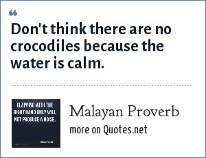 Malayan Proverb: Don't think there are no crocodiles because the water is calm.
