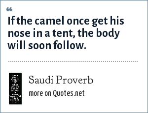 Saudi Proverb: If the camel once get his nose in a tent, the body will soon follow.