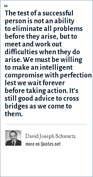 David Joseph Schwartz: The test of a successful person is not an ability to eliminate all problems before they arise, but to meet and work out difficulties when they do arise. We must be willing to make an intelligent compromise with perfection lest we wait forever before taking action. It's still good advice to cross bridges as we come to them.