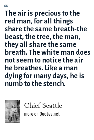 Chief Seattle: The air is precious to the red man, for all things share the same breath-the beast, the tree, the man, they all share the same breath. The white man does not seem to notice the air he breathes. Like a man dying for many days, he is numb to the stench.