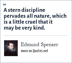 Edmund Spenser: A stern discipline pervades all nature, which is a little cruel that it may be very kind.