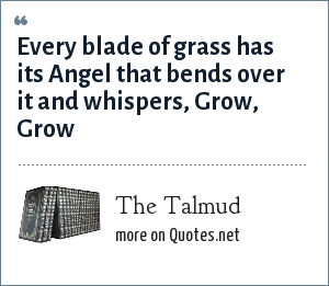 The Talmud: Every blade of grass has its Angel that bends over it and whispers, Grow, Grow