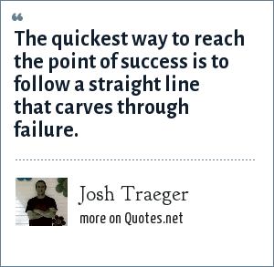 Josh Traeger: The quickest way to reach the point of success is to follow a straight line that carves through failure.