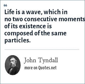 John Tyndall: Life is a wave, which in no two consecutive moments of its existence is composed of the same particles.