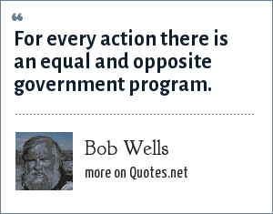 Bob Wells: For every action there is an equal and opposite government program.