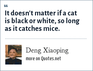 Deng Xiaoping: It doesn't matter if a cat is black or white, so long as it catches mice.