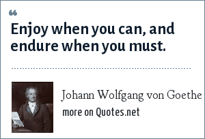 Johann Wolfgang von Goethe: Enjoy when you can, and endure when you must.