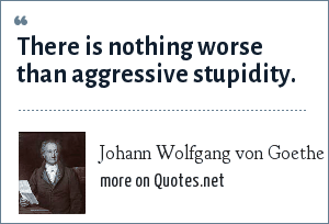 Johann Wolfgang von Goethe: There is nothing worse than aggressive stupidity.