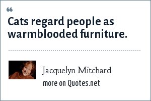Jacquelyn Mitchard: Cats regard people as warmblooded furniture.