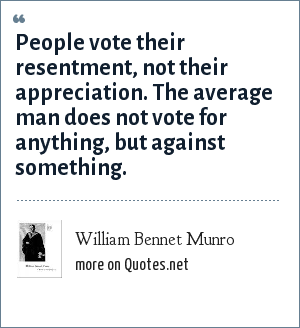 William Bennet Munro: People vote their resentment, not their appreciation. The average man does not vote for anything, but against something.
