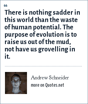Andrew Schneider: There is nothing sadder in this world than the waste of human potential. The purpose of evolution is to raise us out of the mud, not have us grovelling in it.