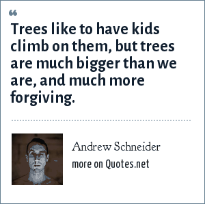 Andrew Schneider: Trees like to have kids climb on them, but trees are much bigger than we are, and much more forgiving.
