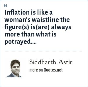Siddharth Astir: Inflation is like a woman's waistline the figure(s) is(are) always more than what is potrayed....