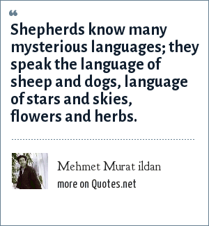 Mehmet Murat ildan: Shepherds know many mysterious languages; they speak the language of sheep and dogs, language of stars and skies, flowers and herbs.