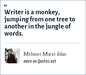 Mehmet Murat ildan: Writer is a monkey, jumping from one tree to another in the jungle of words.