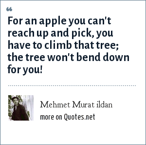 Mehmet Murat ildan: For an apple you can't reach up and pick, you have to climb that tree; the tree won't bend down for you!