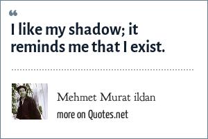 Mehmet Murat ildan: I like my shadow; it reminds me that I exist.