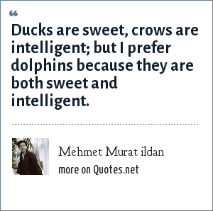 Mehmet Murat ildan: Ducks are sweet, crows are intelligent; but I prefer dolphins because they are both sweet and intelligent.