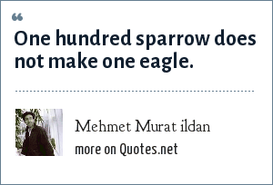 Mehmet Murat ildan: One hundred sparrow does not make one eagle.