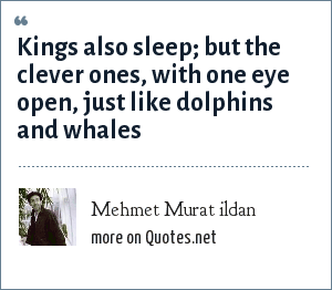 Mehmet Murat ildan: Kings also sleep; but the clever ones, with one eye open, just like dolphins and whales